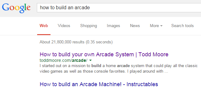 Searching Google for How to Build an Arcade